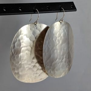 Hammered Sterling silver discs statement earrings